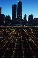 iPhone обои Чикаго, ночной город, небоскребы, огни, США