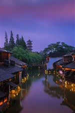 Preview iPhone wallpaper China, old houses, river, tower, lights, night