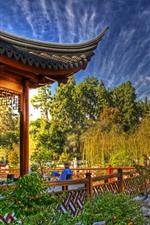Preview iPhone wallpaper China, park, trees, gazebo, willows, autumn