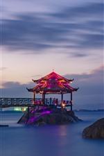 Preview iPhone wallpaper China, sea, night, gazebo, lights, stones