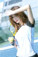 Preview iPhone wallpaper Chinese girl, sport, tennis, sunshine