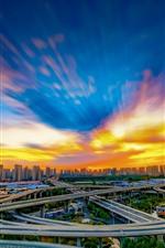 Ciudad, China, carreteras, viaducto, edificios, nubes, puesta de sol