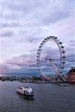 Preview iPhone wallpaper City, England, London, river, ferris wheel, ship, bridge, dusk