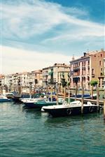 Ciudad, Venecia, Italia, barcos, río, casas