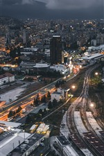 Preview iPhone wallpaper City at night, buildings, road, railroad