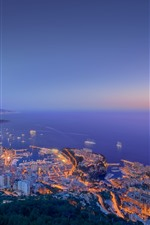 City at night, sea, buildings, lights, top view