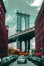 Preview iPhone wallpaper City, buildings, bridge, road, cars