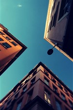 Preview iPhone wallpaper City, buildings, sky, from bottom view