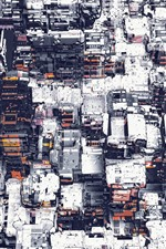 Preview iPhone wallpaper City, buildings, snow, creative art picture