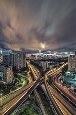 Preview iPhone wallpaper Cityscape, city, night, lights, highways, clouds, Shenzhen, China