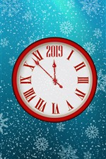 Clock, New Year 2019, snowflakes
