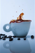 Preview iPhone wallpaper Coffee beans, white cup, coffee splash