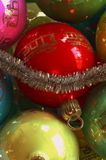 Preview iPhone wallpaper Colorful Christmas balls, decoration, shine