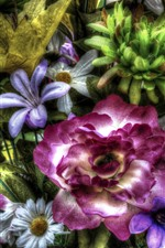 Preview iPhone wallpaper Colorful artificial flowers, HDR style