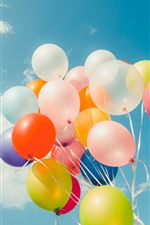 Preview iPhone wallpaper Colorful balloons, blue sky, white clouds