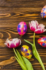 Preview iPhone wallpaper Colorful eggs, Easter, tulips, wood board
