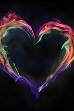 Colorful fire love heart, black background
