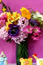 Preview iPhone wallpaper Colorful flowers, vase, bouquet, pink background
