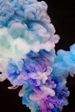 Colorido humo, fondo negro, cuadro abstracto.