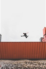 Preview iPhone wallpaper Container, man, jumping