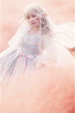 Preview iPhone wallpaper Cosplay girl, elf, wings, grass, hazy