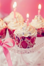 Cupcakes, candles, gift, Birthday