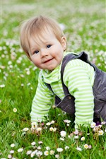 Preview iPhone wallpaper Cute baby, crawl on grass