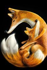 Linda familia de zorro, madre y cachorro