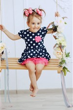 Preview iPhone wallpaper Cute little girl sit on swing, happy, child