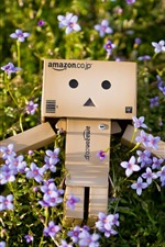 Preview iPhone wallpaper Danbo, purple little flowers