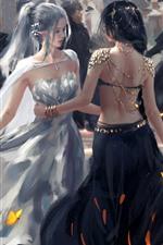 Meninas dançando, elfo, fantasia, imagens de arte