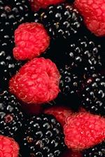 Preview iPhone wallpaper Delicious berries, raspberries, blackberries