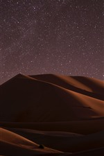 Desert, night, dune, starry, stars