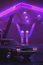 Preview iPhone wallpaper Dodge Charger 1970 car, neon gas