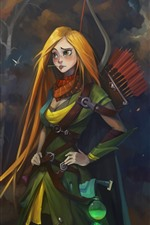 Preview iPhone wallpaper Dota 2, blonde girl, archer, art picture
