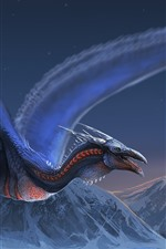 Preview iPhone wallpaper Dragon, flight, wings, mountains, art picture