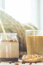 Preview iPhone wallpaper Drinks, yogurt, coffee, cookie, hazy