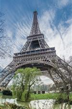 Eiffel Tower, pond, trees, Paris, France