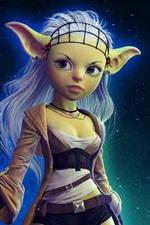 Fantasia menina, elfo, estrelada, céu, noite