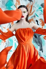 Preview iPhone wallpaper Fashion girl, orange skirt, art photography