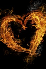 Fire, flame, love heart