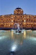 France, Louvre, fountain, night, lights