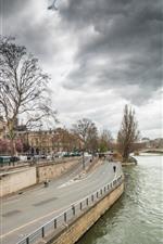 미리보기 iPhone 배경 화면 프랑스, 파리, 강, 다리, 나무, 구름, 도시 풍경