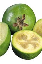 Preview iPhone wallpaper Fresh feijoa, fruit, white background