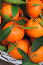 Preview iPhone wallpaper Fresh fruit, tangerines, oranges, leaves