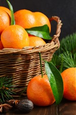 Preview iPhone wallpaper Fresh tangerines, fruit, basket