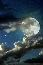 Preview iPhone wallpaper Full moon, clouds, starry, night