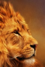 Furry lion, mane, art picture