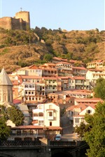 Georgia, city, church, mountain, buildings, trees