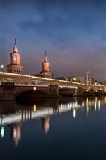 Germany, Berlin, bridge, river, lights, night